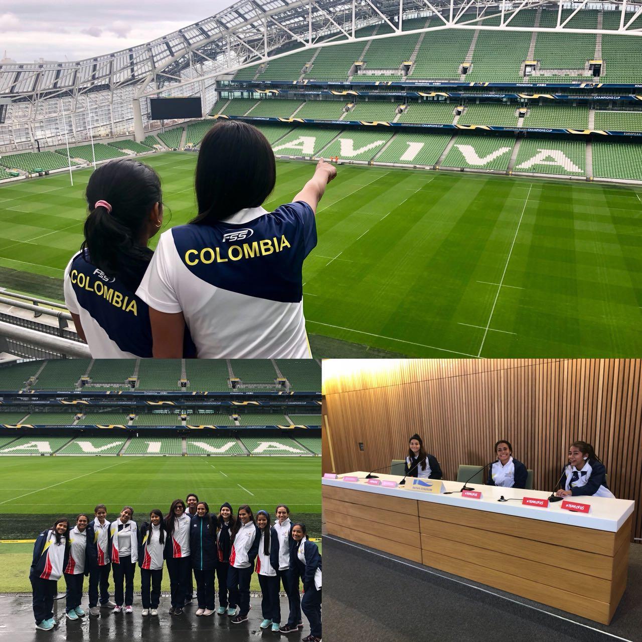 Visita al estadio Aviva en Dublín. Foto: Ministerio de Relaciones Exteriores de Colombia.