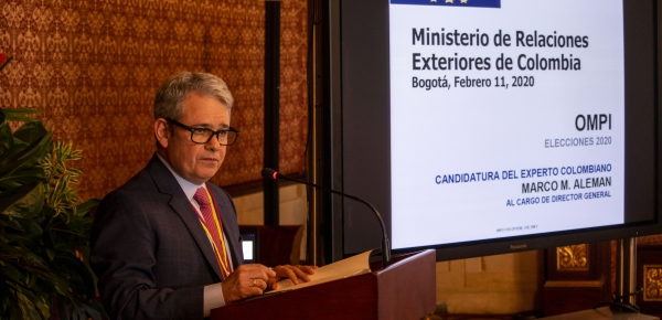 Reunión de presentación al cuerpo diplomático y entidades, de la candidatura de Marco Matías Alemán a la dirección general de la Organización Mundial de Propiedad Intelectual