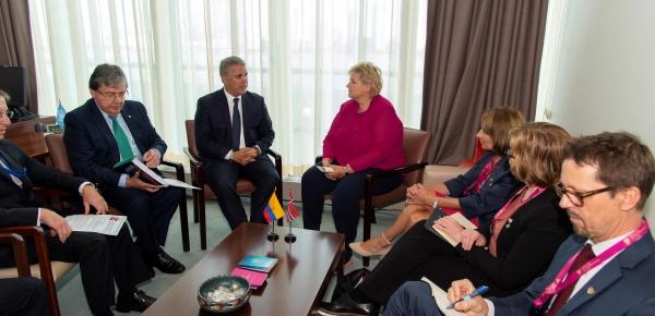 Canciller Holmes Trujillo asistió al encuentro entre el Presidente Iván Duque y la Primera Ministra de Noruega