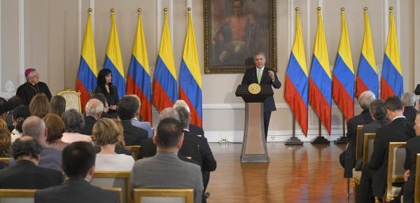 Presidente Duque reiteró al Cuerpo Diplomático acreditado en el país que se necesitan más recursos de la comunidad internacional para atender la crisis migratoria