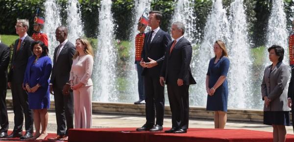 Primer Ministro de Países Bajos, Mark Rutte, fue recibido por el Presidente Iván Duque en la Casa de Nariño con honores militares