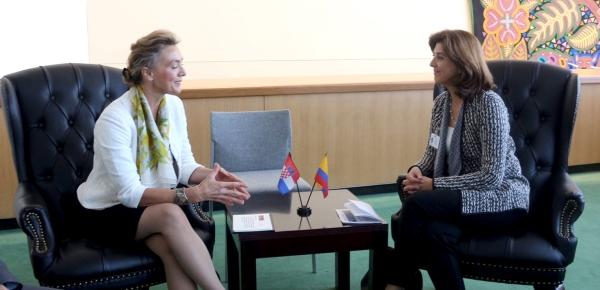 Canciller Holguín se reunió con la Ministra de Relaciones Exteriores y Asuntos Europeos de Croacia