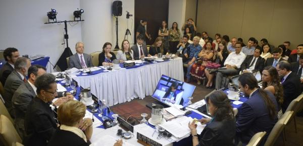 El Ministerio de Relaciones Exteriores lideró la delegación interinstitucional que representó al Estado colombiano en las audiencias temáticas; reuniones privadas sobre medidas cautelares y seguimiento a soluciones amistosas, convocadas por la Comisión Interamericana de Derechos Humanos -CIDH-, en el marco de su 159 Periodo Ordinario de Sesiones, que se hizo en Ciudad de Panamá (Panamá)