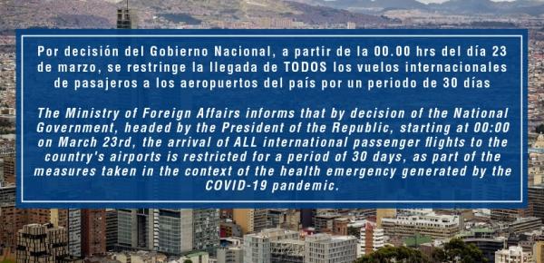 Por un periodo de 30 días, se suspende el ingreso de viajeros internacionales a Colombia: Presidente Iván Duque