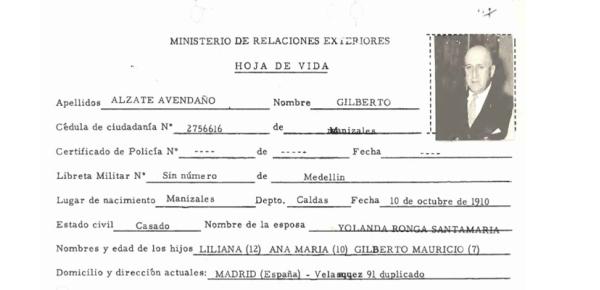 En los archivos de la Cancillería: 110 años del nacimiento de Gilberto Alzate Avendaño, escritor, político conservador y embajador de Colombia en España