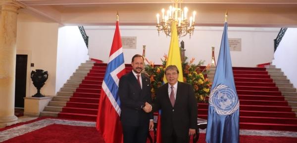 Canciller Carlos Holmes Trujillo y el Príncipe Haakon Magnus de Noruega, Embajador de Buena Voluntad del PNUD, dialogaron sobre los desafíos de Colombia en materia de desarrollo sostenible