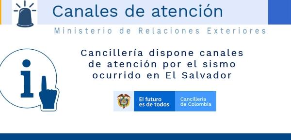 Cancillería dispone canales de atención por el sismo ocurrido en El Salvador