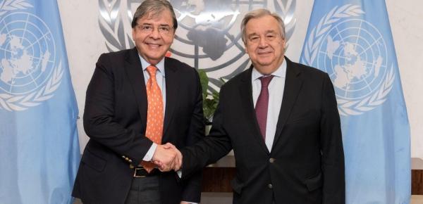 Canciller Carlos Holmes Trujillo comenzó agenda de trabajo en Nueva York con un encuentro con el Secretario General de las Naciones Unidas, António Guterres
