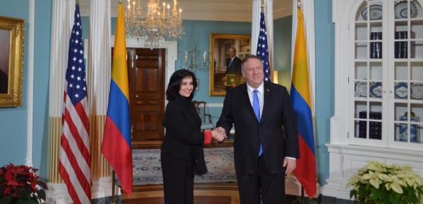 Primer encuentro bilateral entre la Canciller colombiana, Claudia Blum, y el Secretario de Estado de Estados Unidos, Mike Pompeo