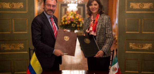 Ministros de Relaciones Exteriores María Ángela Holguín y Luis Videgaray Caso destacaron el trabajo conjunto en materia de seguridad