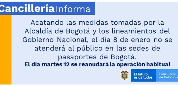 Cancillería informa que el 8 de enero no se atenderá al público en las sedes de pasaportes