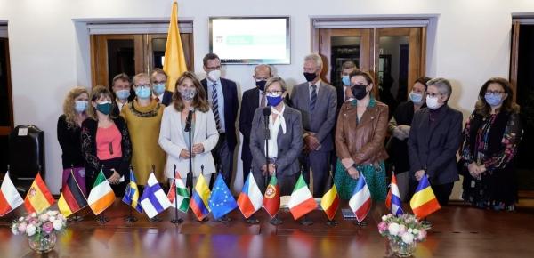 Vicepresidenta y Canciller Marta Lucía Ramírez y la Embajadora de la Unión Europea en Colombia, Patricia Llombart, ofrecieron una declaración a medios de comunicación