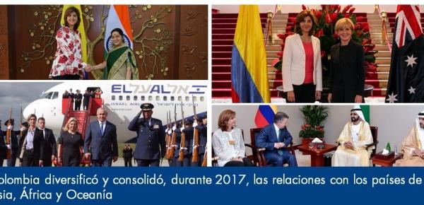 Colombia diversificó y consolidó en el 2017 las relaciones con los países de Asia, África y Oceanía