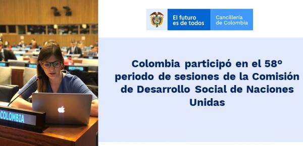 Colombia participó en el 58° periodo de sesiones de la Comisión de Desarrollo Social