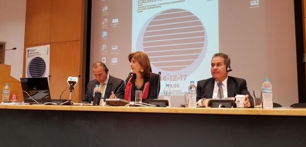 Ministra Holguín ofreció una conferencia en la Universidad del Piraeus, Atenas, donde explicó los avances de Colombia en temas de paz