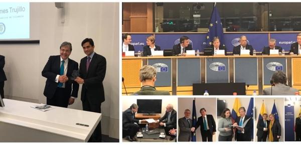 Con la entrega del Conpes a miembros del Parlamento y la Comisión Europea en Bélgica concluyó la gira del Canciller Carlos Holmes Trujillo, quien recibió el premio por fortalecer relación UE – América Latina