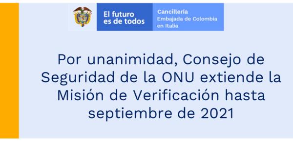 Por unanimidad, Consejo de Seguridad de la ONU extiende la Misión de Verificación hasta septiembre de 2021