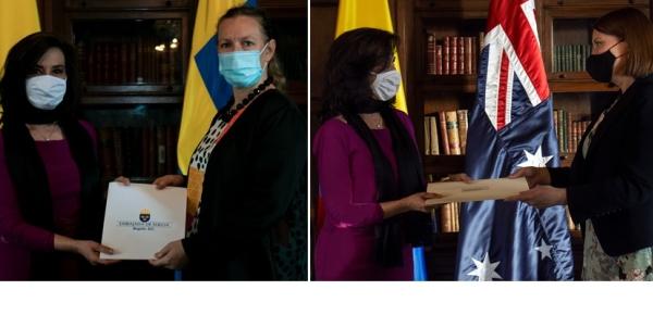 Las Embajadoras de Suecia y Australia en Colombia presentaron copias de cartas credenciales a la Canciller Claudia Blum