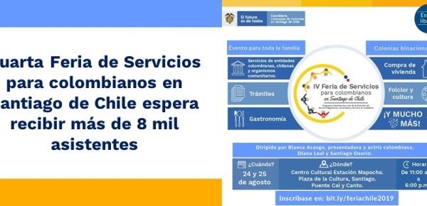 Cuarta Feria de Servicios para colombianos en Santiago de Chile espera recibir a más de 8 mil asistentes