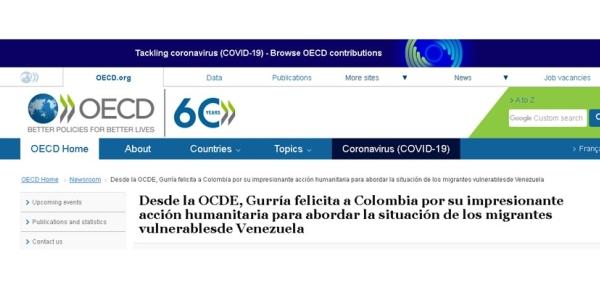 Desde la OCDE, Gurría felicita a Colombia por su impresionante acción humanitaria para abordar la situación de los migrantes vulnerables