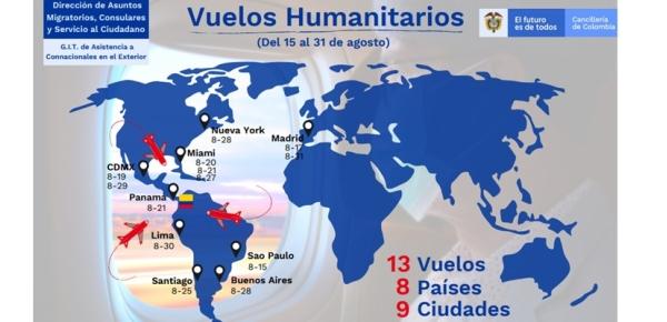 Dirección de Asuntos Migratorios, Consulares y Servicio al Ciudadano informa la programación de vuelos con carácter humanitario del 15 al 31 de agosto