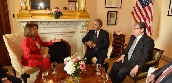 Canciller Carlos Holmes Trujillo acompañó al Presidente Duque en el diálogo que sostuvo con la Presidenta de la Cámara de Representantes de EE.UU., Nancy Pelosi, sobre la crisis política de Venezuela