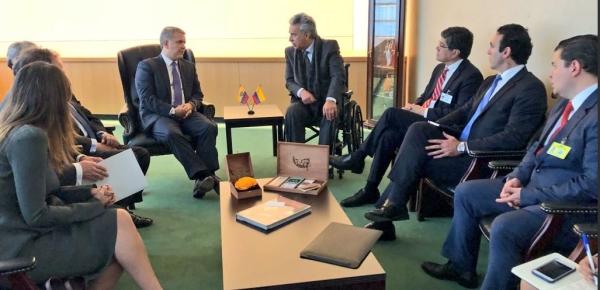 Canciller Carlos Holmes Trujillo acompañó al Presidente Iván Duque Márquez en reunión con el Presidente de Ecuador, Lenín Moreno