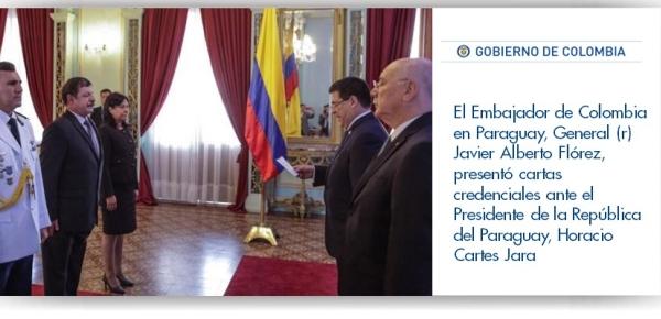 El Embajador de Colombia en Paraguay, General (r) Javier Alberto Flórez, presentó cartas credenciales ante el Presidente de la República del Paraguay,