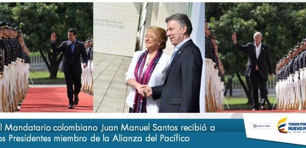 El Mandatario colombiano Juan Manuel Santos recibió a los Presidentes de la Alianza del Pacífico