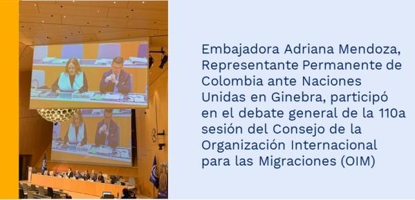 Embajadora Representante Permanente de Colombia ante Naciones Unidas en Ginebra, participó en el debate general de la 110a sesión del Consejo de la Organización Mundial para las Migraciones