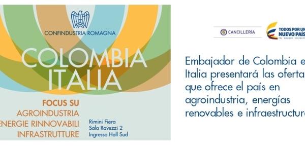 Embajador de Colombia en Italia presentará las ofertas que ofrece el país en agroindustria, energías renovables e infraestructura a empresarios