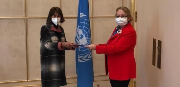 Embajadora Alicia Arango Olmos presentó cartas credenciales ante la Directora General de la Oficina de las Naciones Unidas en Ginebra, Tatiana Valovaya