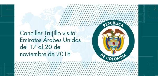 Canciller Trujillo visita Emiratos Árabes Unidos del 17 al 20 de noviembre de 2018