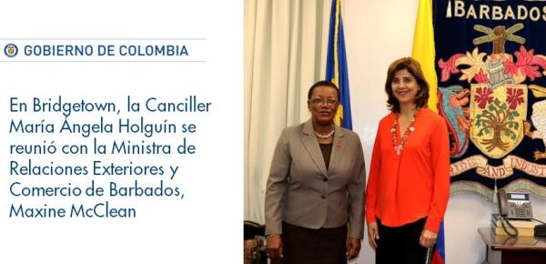 En Bridgetown, la Canciller María Ángela Holguín se reunió con la Ministra de Relaciones Exteriores y Comercio de Barbados