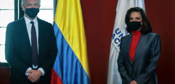 La Canciller Claudia Blum reafirmó en reunión con el Alto Comisionado de las Naciones Unidas para los Refugiados, Filippo Grandi, la importancia de la cooperación de ACNUR en el país