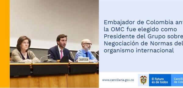 Embajador de Colombia ante la OMC fue elegido como Presidente del Grupo sobre Negociación de Normas del organismo internacional
