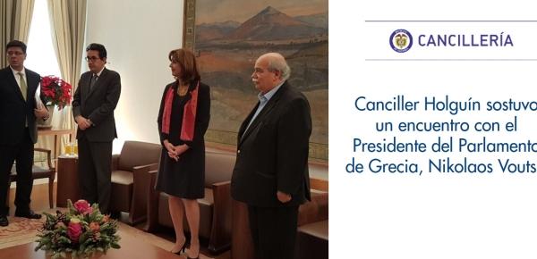Canciller Holguín sostuvo un encuentro con el Presidente del Parlamento de Grecia, Nikolaos Voutsis