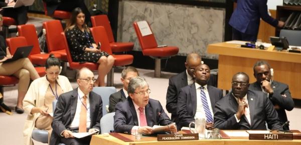 Canciller Holmes Trujillo participó en sesión del Consejo de Seguridad de la ONU, en calidad de Presidente de la Comisión de Consolidación de la Paz