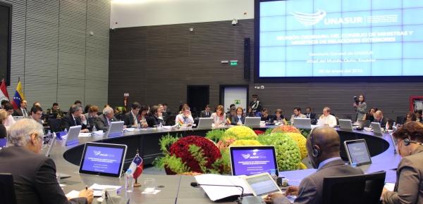 Canciller Holguín asistió al Consejo de Ministras y Ministros de Relaciones Exteriores de Unasur que se realizó en la sede de este mecanismo en Ecuador