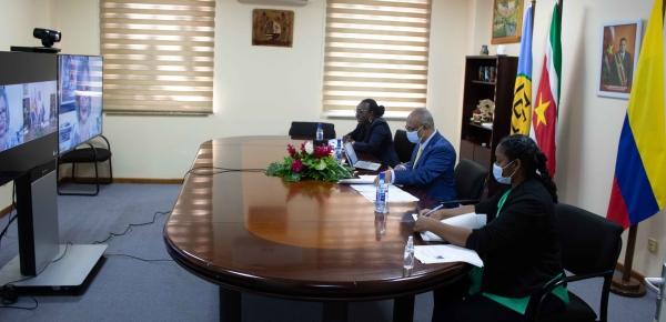 Embajadora de Colombia en Trinidad y Tobago presentó copias de estilo de cartas credenciales ante el Canciller de Surinam, en ceremonia virtual