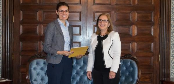 La Viceministra encargada de Asuntos Multilaterales, Carolina Díaz Acosta, recibió a la nueva Representante del Fondo de Población de las Naciones Unidas (Unfpa), Aída Verónica Simán