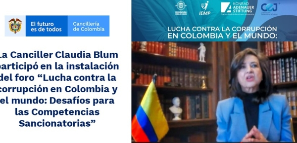 """La Canciller Claudia Blum participó en la instalación del foro """"Lucha contra la corrupción en Colombia y el mundo"""""""