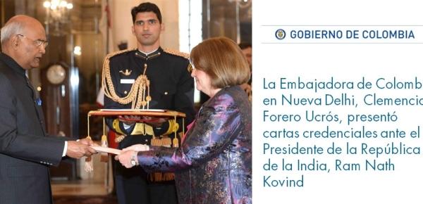 La Embajadora de Colombia en Nueva Delhi, Clemencia Forero Ucrós, presentó cartas credenciales ante el Presidente de la República de la India