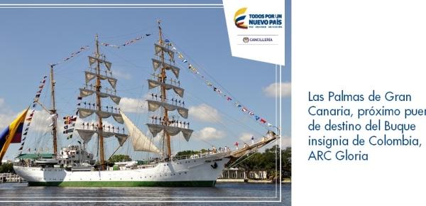 Las Palmas de Gran Canaria, próximo puerto de destino del Buque insignia de Colombia, ARC Gloria