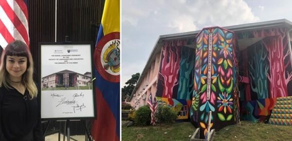 """Universidad nacional de malasia rindió homenaje a la obra """"Hábitat de lenguajes"""" de la muralista colombiana Ledania"""
