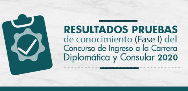 Resultados pruebas de conocimiento (Fase I) del Concurso del Ingreso a la Carrera Diplomática y Consular 2020