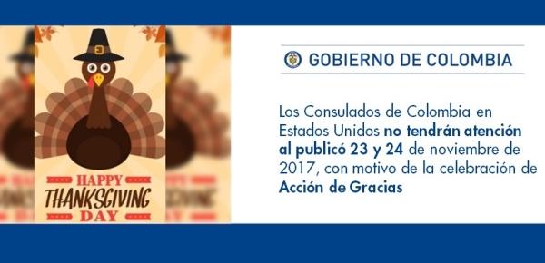 Los Consulados de Colombia en Estados Unidos no tendrán atención al publicó 23 y 24 de noviembre, con motivo de la celebración del Día de Acción de Gracias