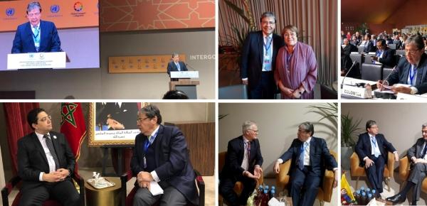 En Marruecos, el Canciller Carlos Holmes Trujillo sostuvo reuniones bilaterales y participó en el Pacto Global para una Migración Segura, Ordenada y Regular