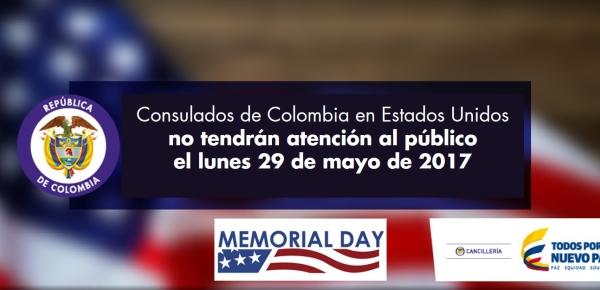 Consulados de Colombia en Estados Unidos no tendrán atención al público el 29 de mayo de 2017 por conmemoración del 'Memorial Day'