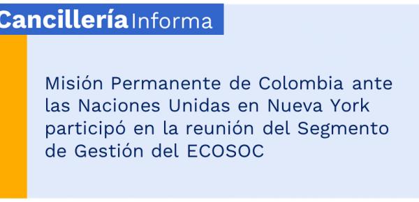 Misión Permanente de Colombia ante las Naciones Unidas en Nueva York participó en la reunión del Segmento de Gestión del ECOSOC